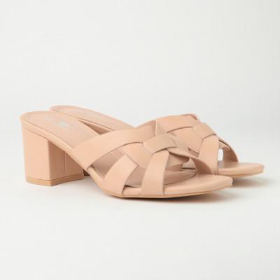 Ženske papuče na malu štiklu WL3076 bež