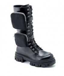 Ženske poluduboke čizme LX060342 crne