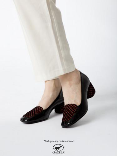 Cipele sa kožnom postavom N-131/ crne-bordo
