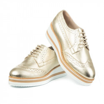 Kožne cipele na debelom đonu 2670 zlatne