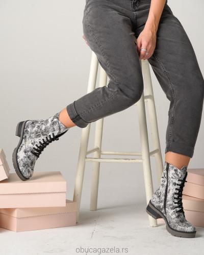 Kožne poluduboke čizme A9-29 crno/bele