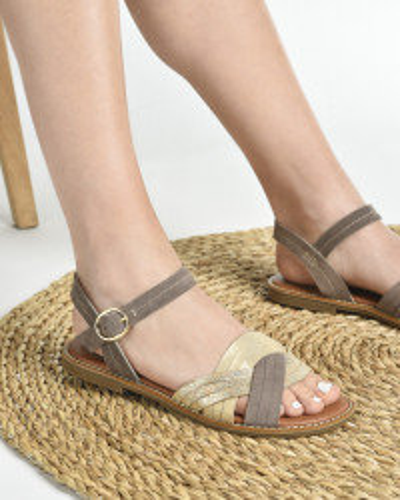 Kožne ravne sandale E107/2 bež-braon
