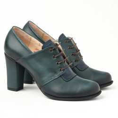 Kožne ženske cipele 14-121 zeleno/teget