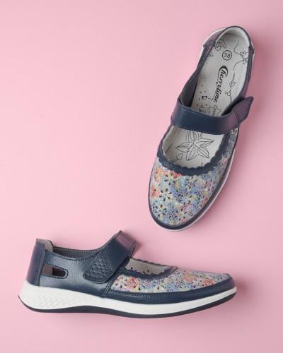 Kožne ženske cipele 2083 teget plave