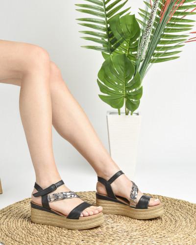 Kožne ženske sandale ALD1077 crne
