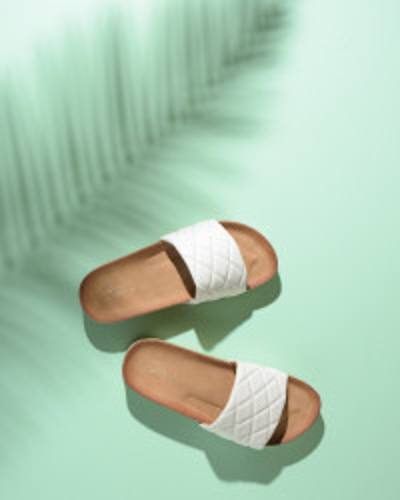 Ravne papuče na debelom đonu LP022109 bele
