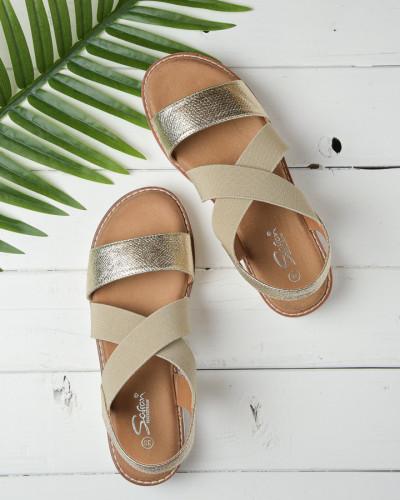 Ravne sandale na debelom djonu LS212109 zlatno bež