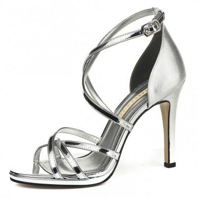 Sandale na štiklu 7326 srebrne