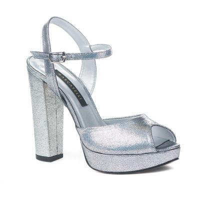 Sandale na štiklu 7473 srebrne