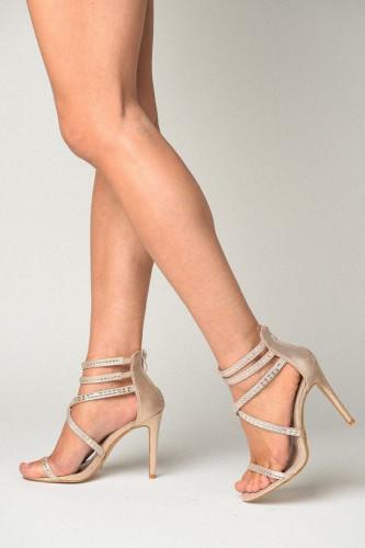 Sandale na štiklu S7503 bež