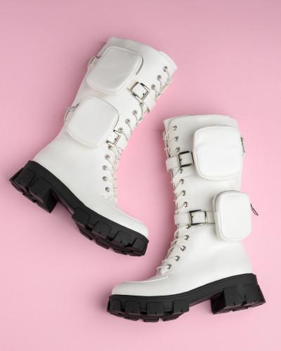 Ženske poluduboke čizme LH050401 bele