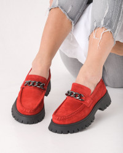 Kožne cipele na debelom đonu ESB202652-01 crvene
