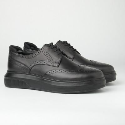 Kožne muške cipele sa debelim đonom 205103-1 crne