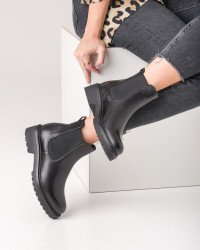 Kožne poluduboke čizme 840020 crne