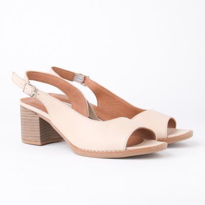 Kožne sandale na štiklu ALR1 bež