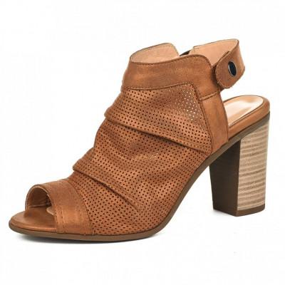 Kožne sandale na štiklu S3680 kamel
