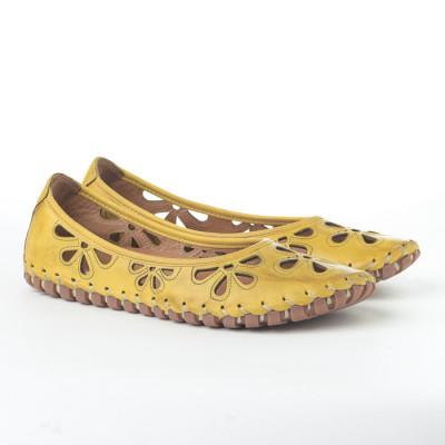 Kožne ženske baletanke K1206/535 žute