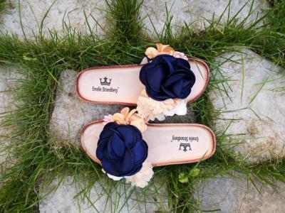 Ravne papuče A7 teget cvet