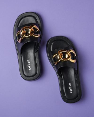 Ravne ženske papuče WL3083 crne