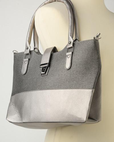 Velika ženska torba sivo srebrna
