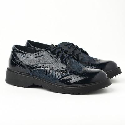 Ženske cipele na pertlanje L081926 teget