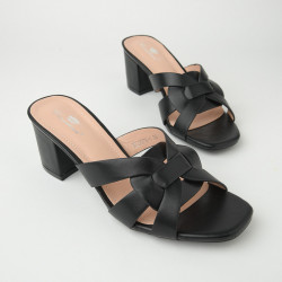 Ženske papuče na malu štiklu WL3076 crne
