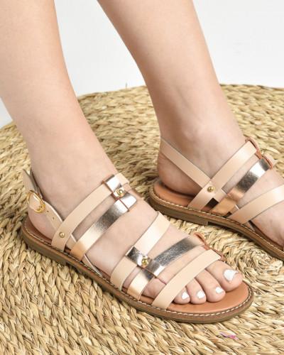 Kožne ravne sandale E108/3 bež