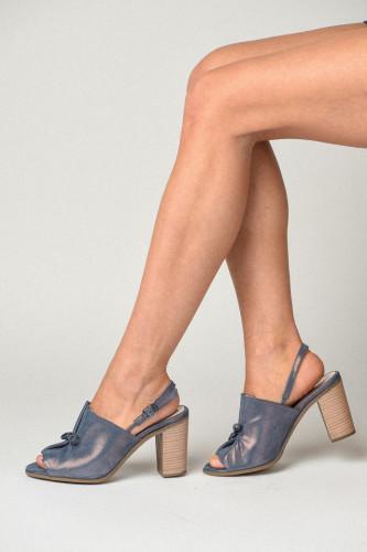 Kožne sandale na štiklu S3555 teget