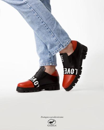 Kožne ženske cipele A5-18/7 crveno/crne