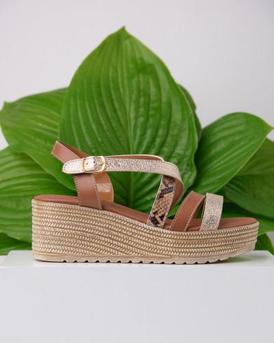 Kožne ženske sandale KT45 braon