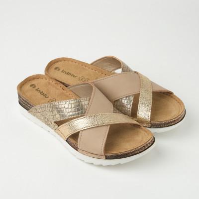 Ravne papuče OF000025 zlatno/bež