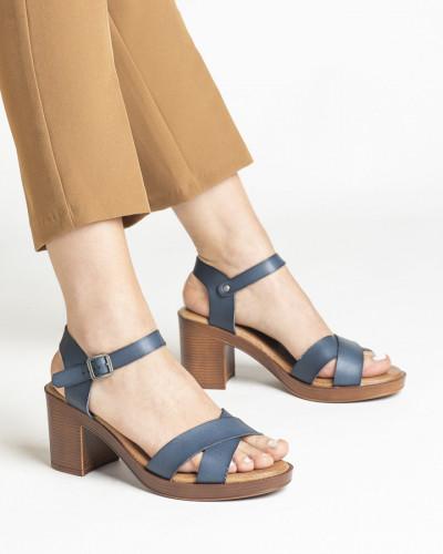 Sandale na deblju petu S401 plave