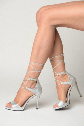 Sandale na štiklu 174 belo srebrne