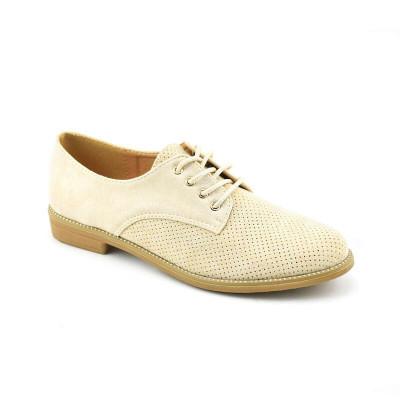 Ženske cipele na pertlanje L021254 bež