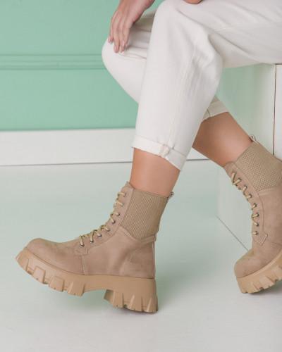 Ženske čizme sa prenaglašenim đonom L5160 bež