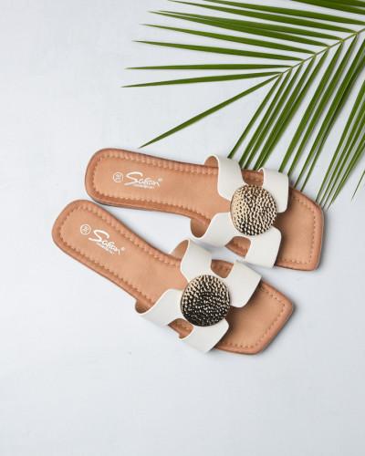 Ženske ravne papuče LP212102 bele