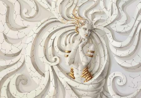 3D effect Goddess in gold wallpaper - 10211