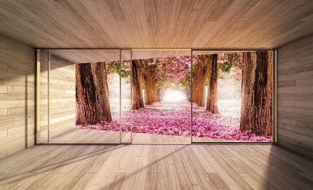 3D terrace blossomed trees wallpaper - 3294