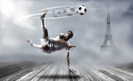 Football and the eiffel tower in the background wall mural - 2255