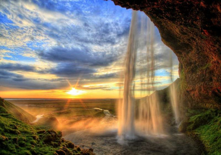 Gorgeous waterfall and sunrise in the background- 13056