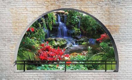 3D zen garden view from an arch - 2838
