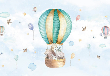 Balloon with animals, children's room wall mural - 13510