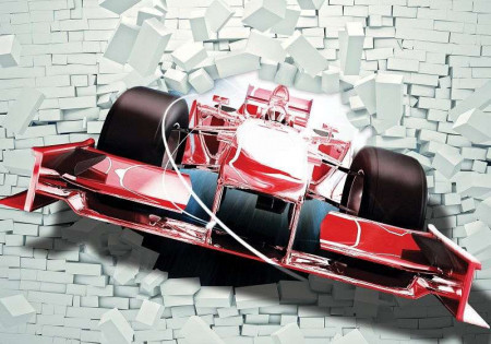 Bolide car breaking the brick wall - 2774