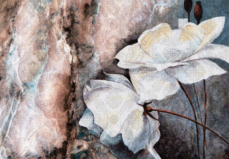 watercolor painted flowers wall decal - 13528