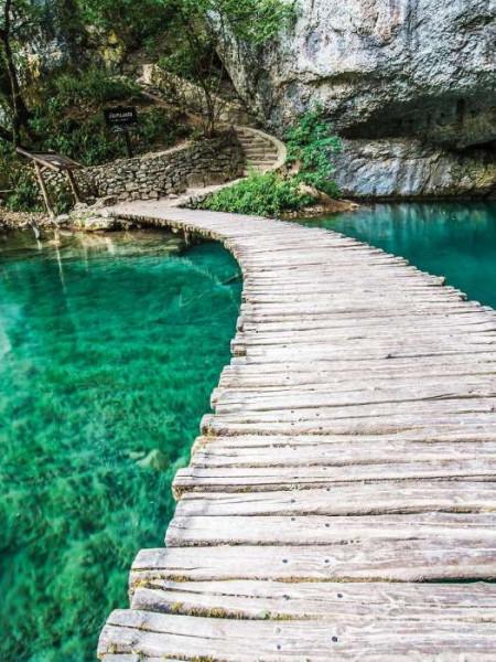 Wooden zen bridge above calm waters mural - 10220A
