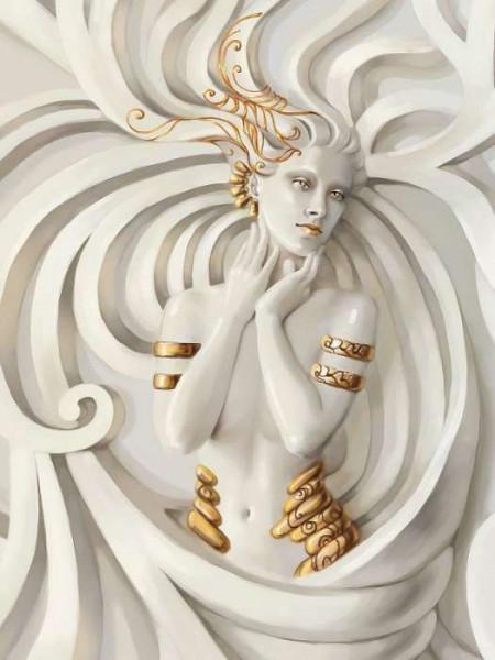 Enchantress with golden elements wallpaper - 3043A