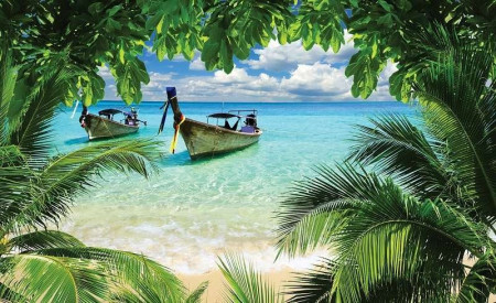 Fishermen boats on a tropical beach - 225