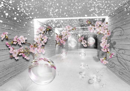 Flowers in a hallway wall paper - 3360