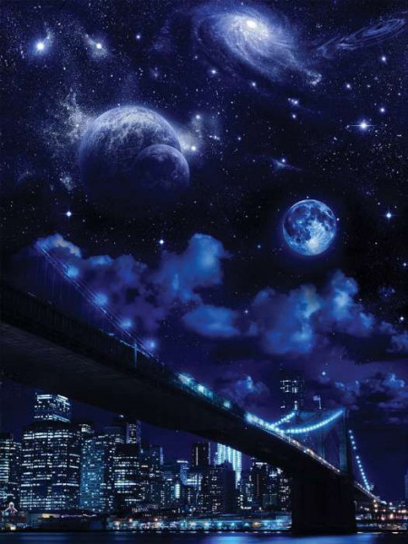 Night sky over New York wall paper - 10472A
