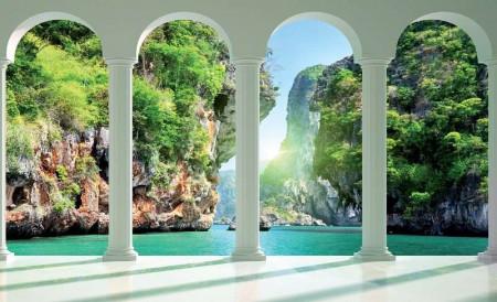 Relaxing wallpaper of lake and rocks - 2352